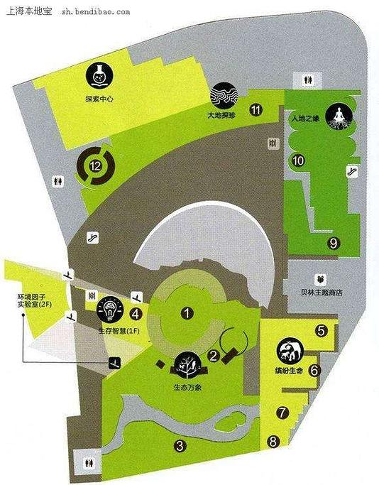 上海自然博物馆旅游导图