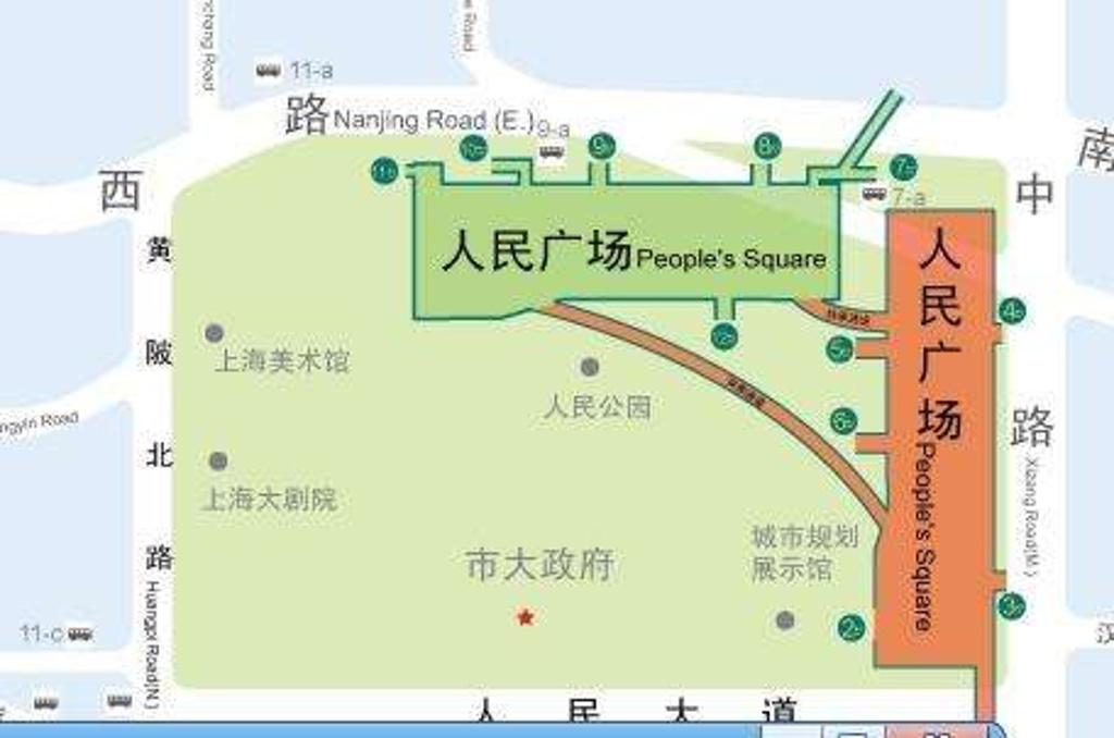 人民广场旅游导图