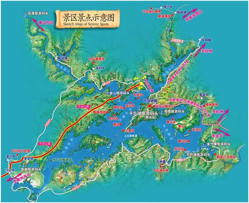 千岛湖景区旅游导图