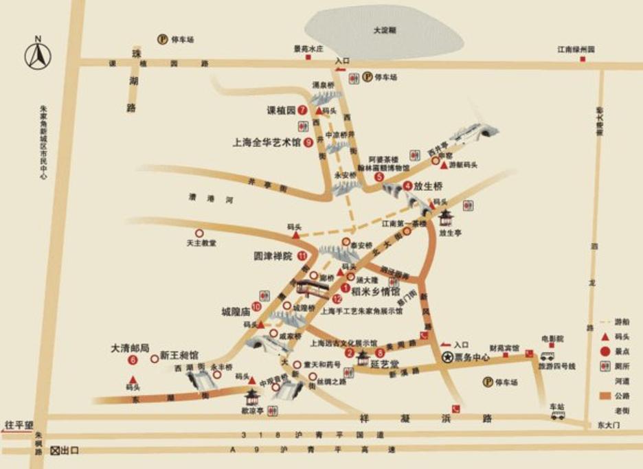 朱家角古镇景区旅游导图