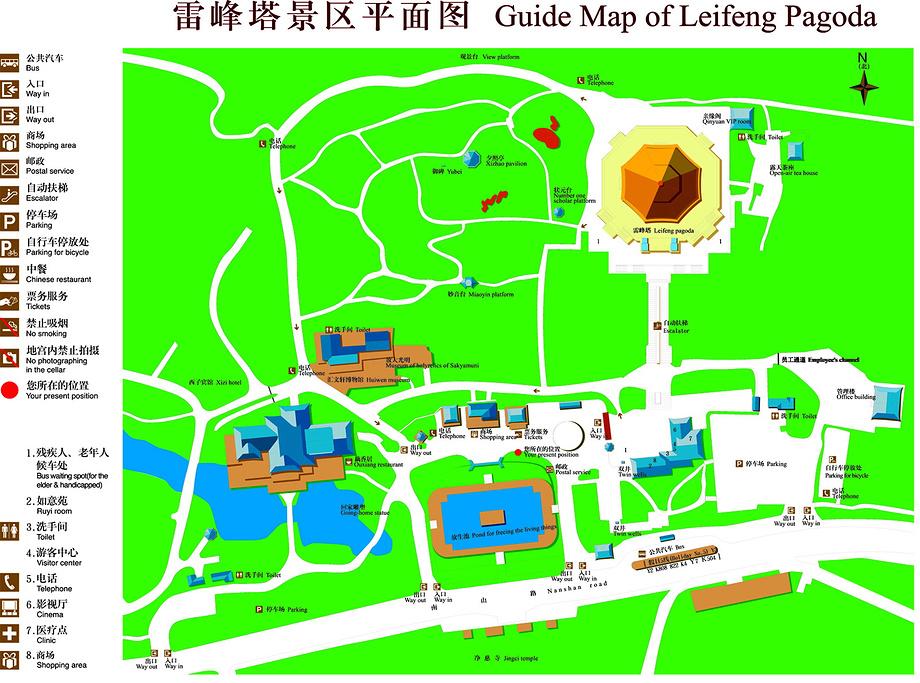 雷峰塔旅游导图