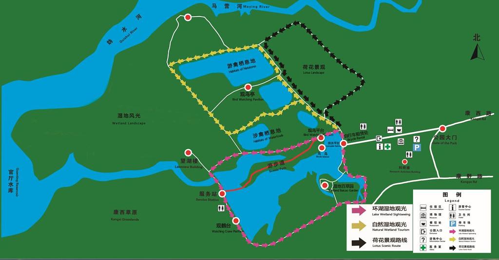 野鸭湖国家湿地公园旅游导图
