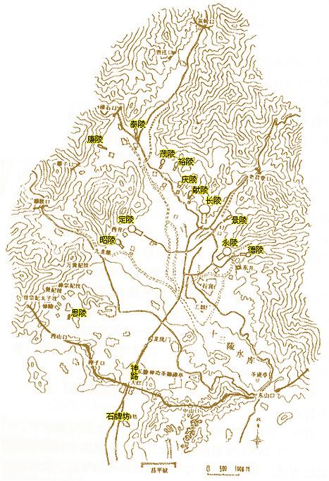 明十三陵旅游导图