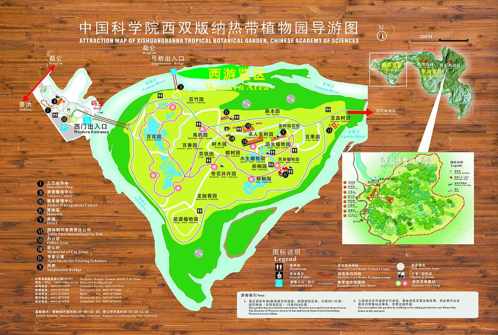 中科院西双版纳热带植物园旅游导图