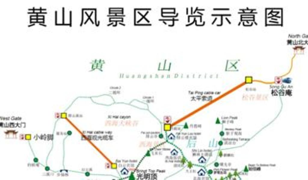 黄山风景区旅游导图