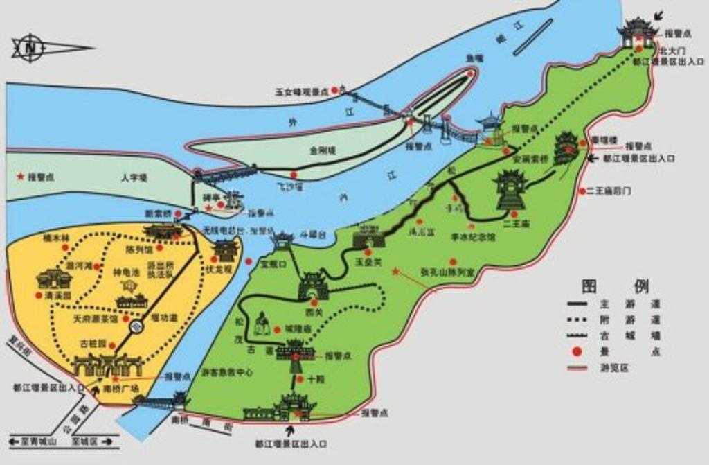 都江堰鱼嘴分水堤旅游导图